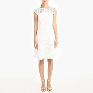 J. Crew White Square Neck Eyelet Dress Size 8